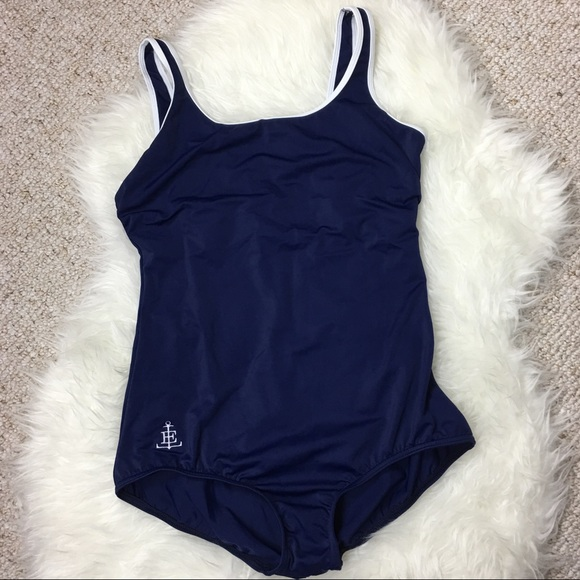 194137b12b9 New Land s End navy one piece swimsuit white trim